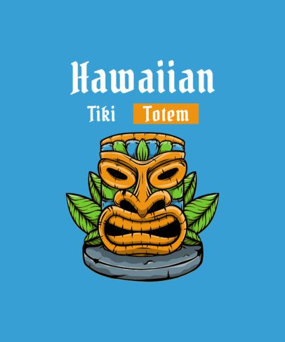 T-Shirt Design Template Featuring a Hawaiian Totem Graphic 2933d-el1
