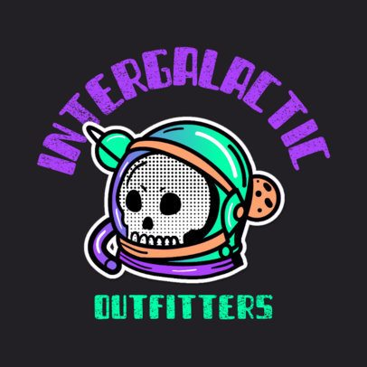 Space-Themed Streetwear Logo Maker with a Skull Clipart 3683l
