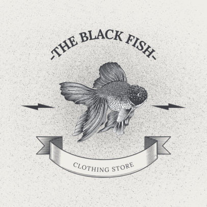 Clothing Brand Logo Creator with a Realistic Graphic of a Fish 2944b-el1