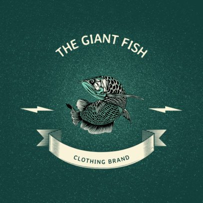 Logo Maker for a Clothing Brand with a Realistic Fish Clipart 2944e-el1