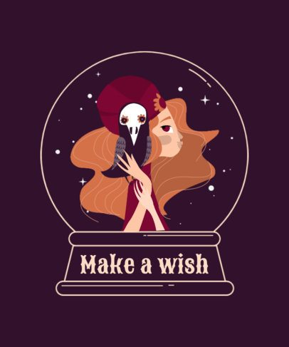 Illustrated T-Shirt Design Maker Featuring a Witch with an Undead Crow Pet 2924a-el1
