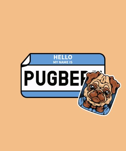 Illustrated T-Shirt Design Generator with a Pug Sticker 2931b-el1