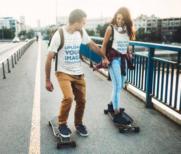 T-Shirt and Tank Top Mockup Featuring a Happy Couple Skating 43343-r-el2