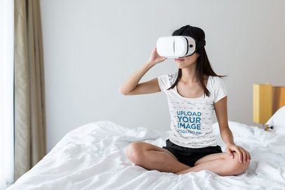 T-Shirt Mockup of a Woman Using a VR Headset in Her Bedroom 42775-r-el2