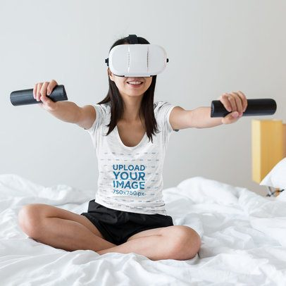 Heathered Tee Mockup of a Woman Using a VR Headset at Home 42776-r-el2
