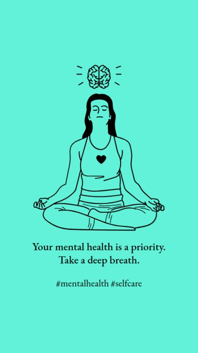 Mental Health-Themed Instagram Story Design Generator Featuring a Woman Meditating 2960b