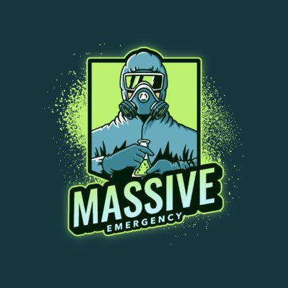 Gaming Team Logo Generator Featuring a Masked Character Holding a Chemistry Flask 3672n