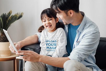 Long-Sleeve Tee Mockup of a Girl Reading with Her Father 41954-r-el2