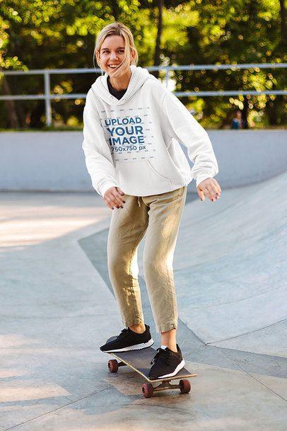 Hoodie Mockup of a Young Woman at a Skatepark 41480-r-el2