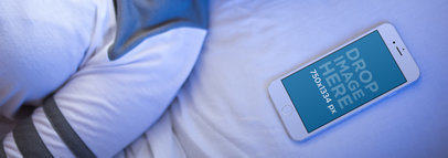 Young White Girl Sleeping with Her White IPhone 6 Besides Her Mockup 14080awide