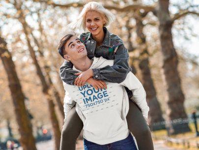 Pullover Hoodie Mockup of a Happy Man Carrying His Girlfriend 42239-r-el2