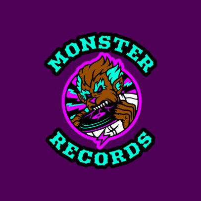 Retro Logo Maker for a Record Store Featuring a Werewolf Cartoon 3681a