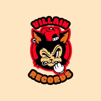 Record Store Logo Maker Featuring an Angry Cat Cartoon 3681d