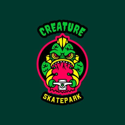 Patch-Styled Logo Maker for a Skatepark Featuring an Aquatic Monster Graphic 3681g