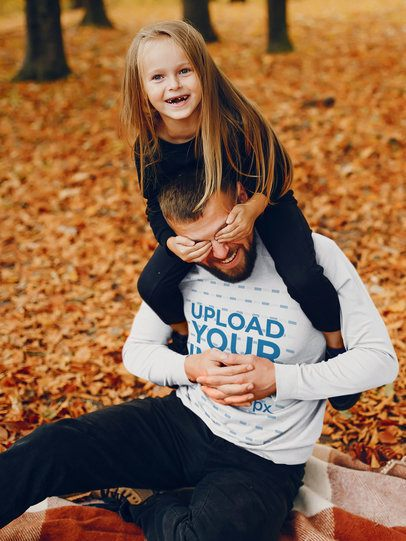Long-Sleeve Tee Mockup of a Father Playing in the Woods with His Daughter 42245-r-el2