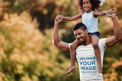 T-Shirt Mockup Featuring a Dad Carrying His Daughter on His Shoulders 42236-r-el2
