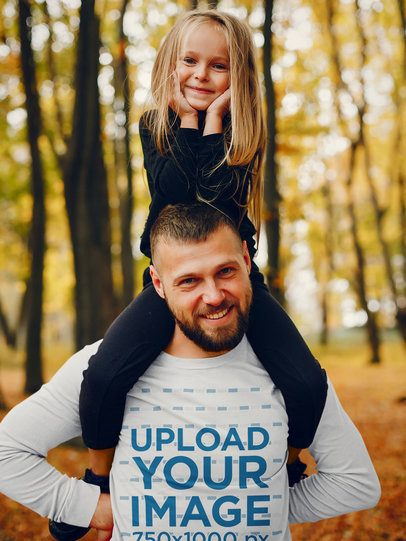 Long-Sleeve Tee Mockup of a Father Carrying His Daughter on the Shoulders 42246-r-el2
