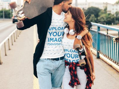 Tank Top and T-Shirt Mockup Featuring a Skater Couple Walking in the City 43344-r-el2
