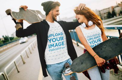 Tank Top and T-Shirt Mockup Featuring a Skater Couple Laughing 43346-r-el2