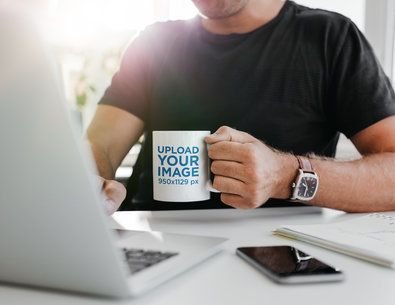 11 oz Mug Mockup Featuring a Man Drinking Coffee While Working From Home 43554-r-el2