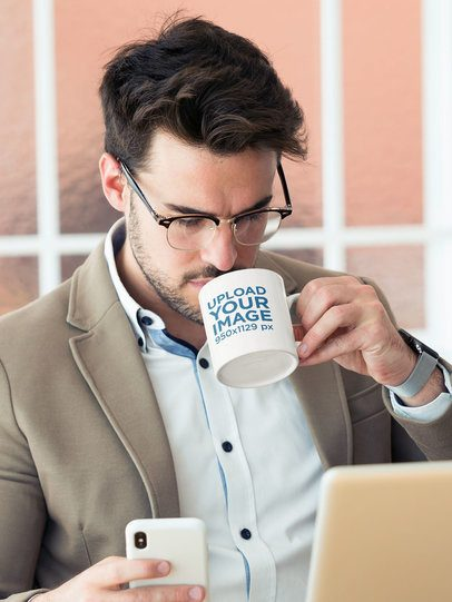 11 oz Mug Mockup Featuring a Man Drinking Coffee at an Office 43593-r-el2