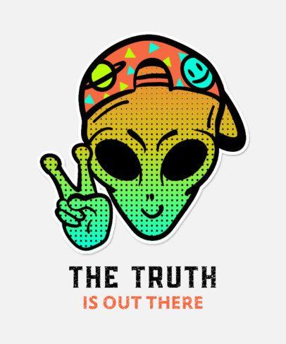 T-Shirt Design Template Featuring an Alien Patch Graphic 3002b