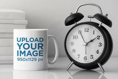11 oz Mug Mockup Featuring an Alarm Clock 43535-r-el2