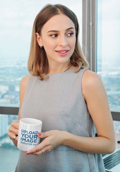 Mockup of a Woman Holding a Coffee Mug in a Corporate Setting 43587-r-el2