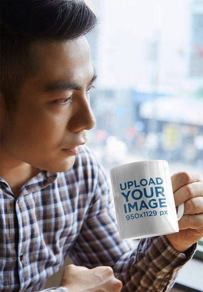 Mockup Featuring a Serious Man Drinking Coffee From an 11 oz Mug 43588-r-el2