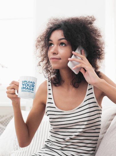 11 oz Mug Mockup Featuring a Woman Talking on the Phone 43494-r-el2
