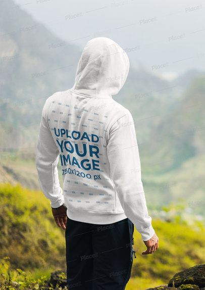 Back-View Hoodie Mockup of a Man Enjoying a Mountain Landscape 40176-r-el2