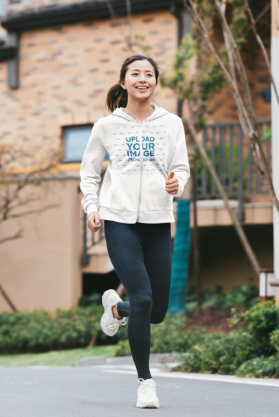 Mockup of a Woman Wearing a Full-Zip Hoodie to Run 40097-r-el2