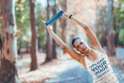 Tank Top Mockup of a Woman Training with an Elastic Band 43655-rel2