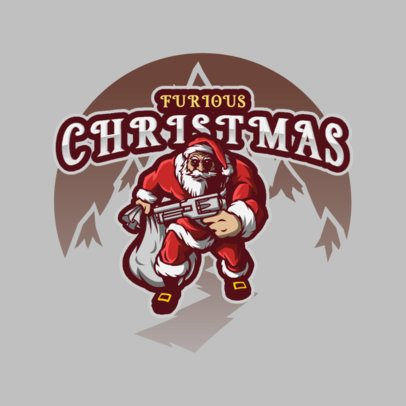 Christmas-Themed Gaming Logo Maker with an Armed Santa Graphic 3711g