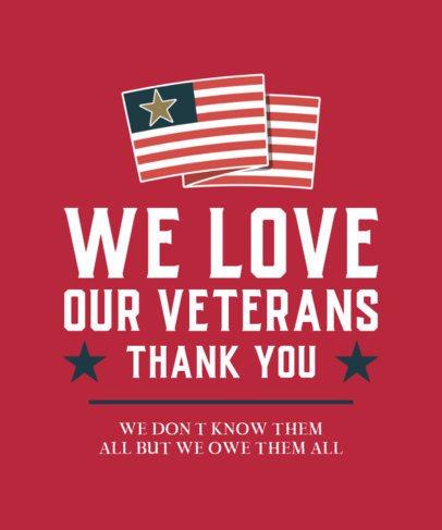 Patriotic T-Shirt Design Template to Show Appreciation to Veterans 2993c