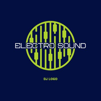 DJ logo Maker Featuring a Neon Audio Mixer Graphic 3698d