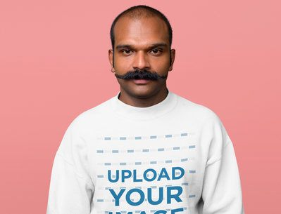 Sweatshirt Mockup Featuring a Man with a Mustache in a Studio 40070-r-el2