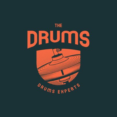 Customizable Logo Maker for a Rock Band Featuring a Drums Graphic 3704c