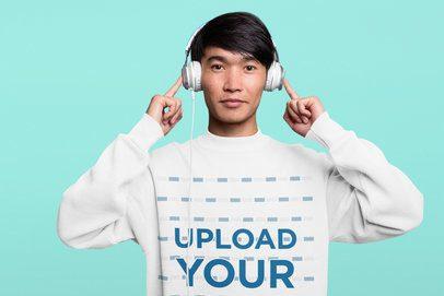 Sweatshirt Mockup Featuring a Young Man Wearing Headphones at a Studio 40039-r-el2