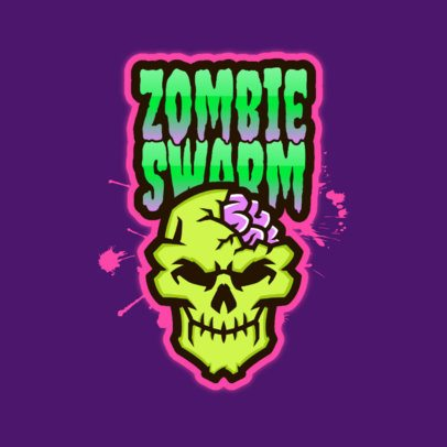 Free Gaming Logo Template Featuring a Zombie Skull Graphic 3724r