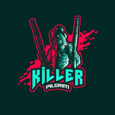 Gaming Squad Logo Maker Featuring a Man with Two Shotguns 3711l