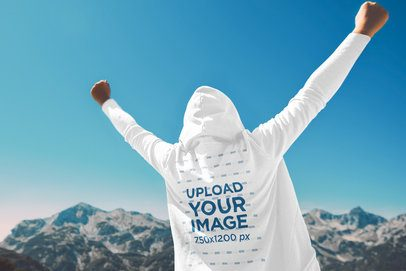 Hoodie Mockup Featuring an Excited Man Raising His Arms in the Mountains 40103-r-el2