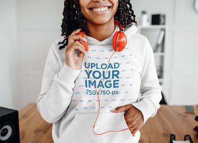 Cropped Face Mockup of a Woman with a Hoodie and Headphones 39073-r-el2