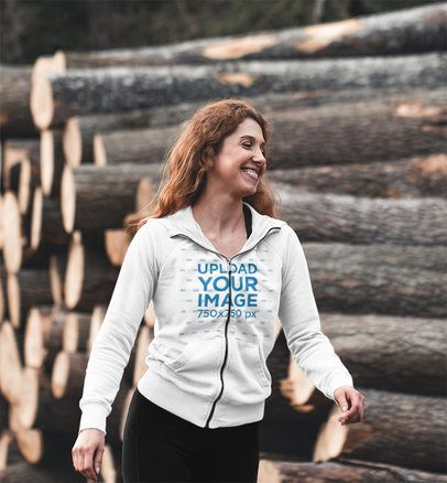 Mockup of a Happy Woman Wearing a Full-Zip Hoodie Outdoors 41352-r-el2