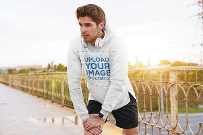 Pullover Hoodie Mockup of a Runner Warming Up 42801-r-el2