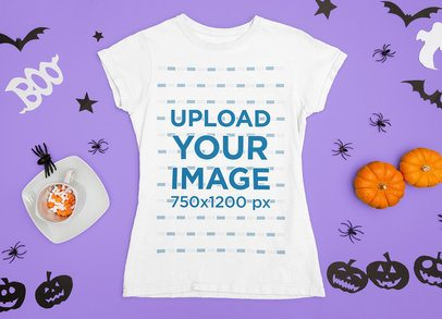 T-Shirt Mockup Featuring Halloween Ornaments and Some Candy m86