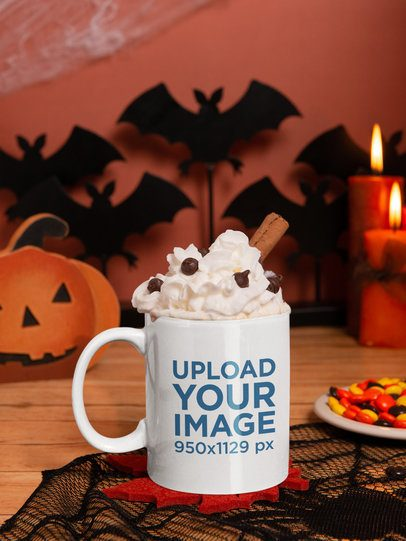 Halloween Mockup Featuring an 11 Oz Coffee Mug Placed by Spooky Decorations 122