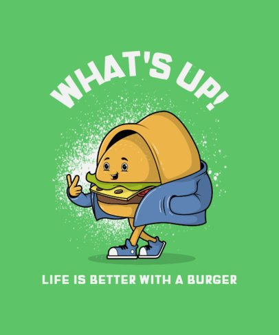 Funny T-Shirt Design Template with a Burger Character Clipart 3008a-el1