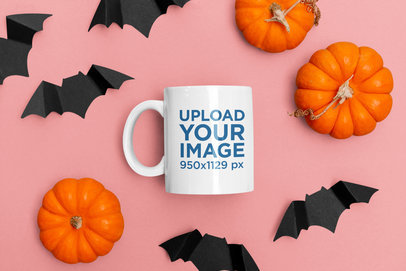 Halloween Mockup of an 11 oz Coffee Mug Surrounded by Pumping and Paper Bats 121