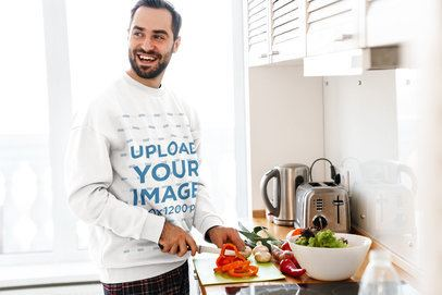 Sweatshirt Mockup Featuring a Happy Man Cooking at Home 40242-r-el2